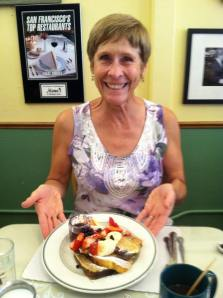 Our friend Deb showing off her French Toast Sampler