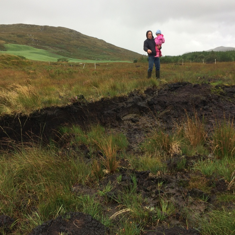 Nephew-in-law and his 2-year-old, overlooking the peat bog
