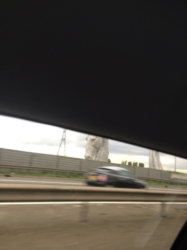 A glimpse of the Kelpies statue as we zipped past